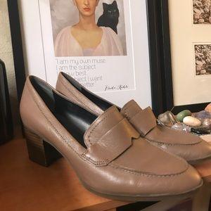 Franco Sarto leather tan stacked heel loader